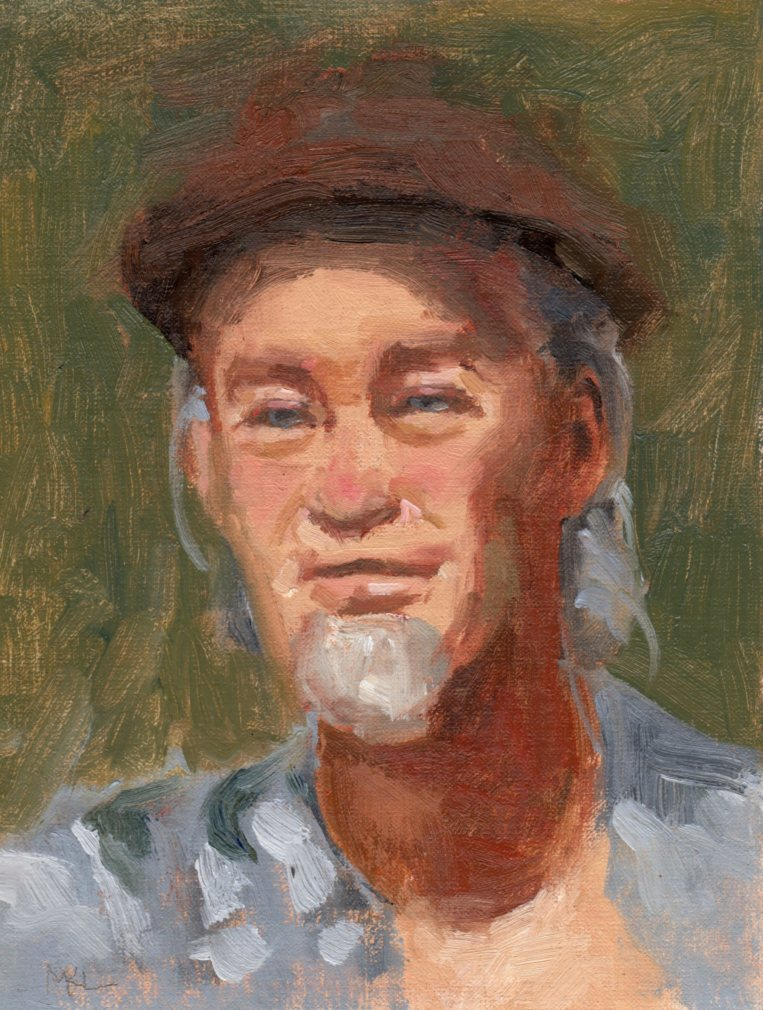Man with Guitar, oil on canvas panel, 10 x 8