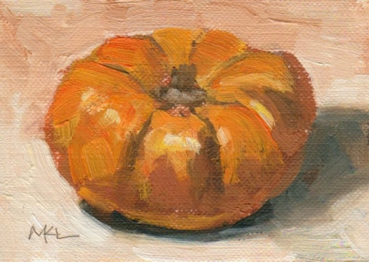 Orange Pumpkin, oil on canvas paper, 2 1/2 x 3 1/5 inches