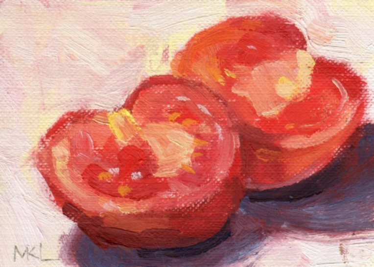 Sliced Tomato, oil on canvas paper, 2 1/2 x 3 1/2 inches