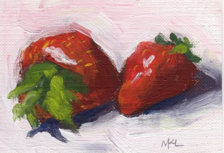 Two Strawberries, oil on canvas paper, 2.5 x 3.5, ACEO