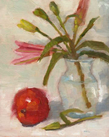Still Life with Mango, oil on linen, 10 x 8 inches