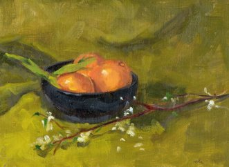 Oranges with White Blossoms, oil, 12 x 9 inches