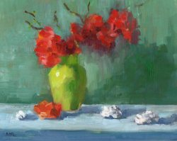 Red Flowers in Green Vase, 10 x 8 in., oil, private collection