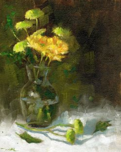 Yellow and Green Flowers 8 x 10 inches oil on canvas panel