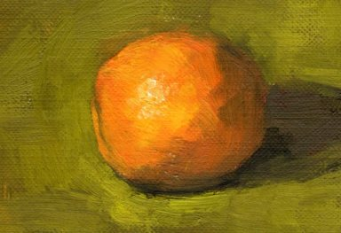 Orange, 2015, oil on paper, 2 1/2 x 3 1/2 inches, ACEO