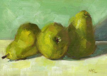 Three Pears, oil on linen panel, 5 x 7 inches