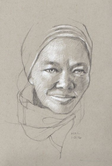 Older Woman with Clear Eyes, 5 x 8 inches, pencil