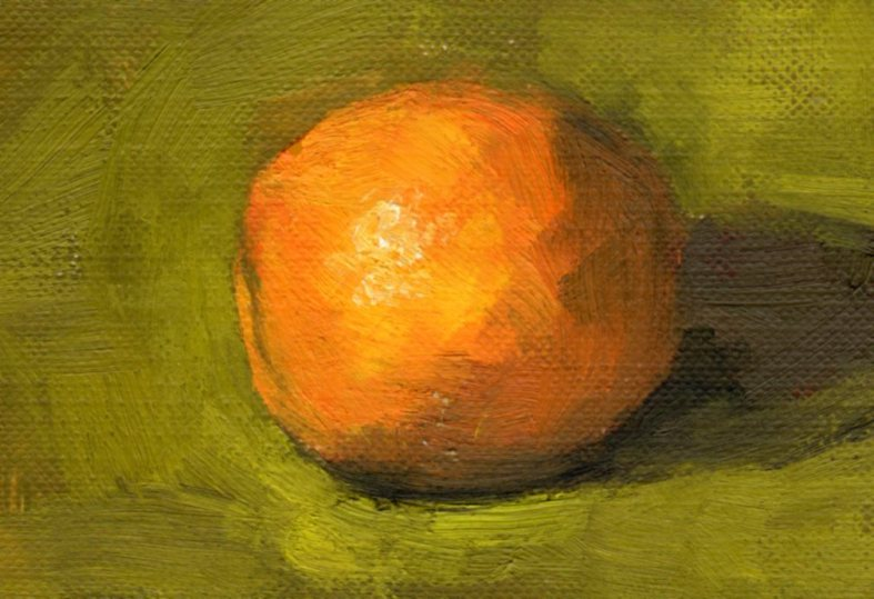 Orange, 2 1/2 x 3 1/2 inches oil on canvas paper