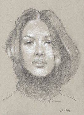 Luscious Hair, pencil, 8x5inches, by Marlene Lee