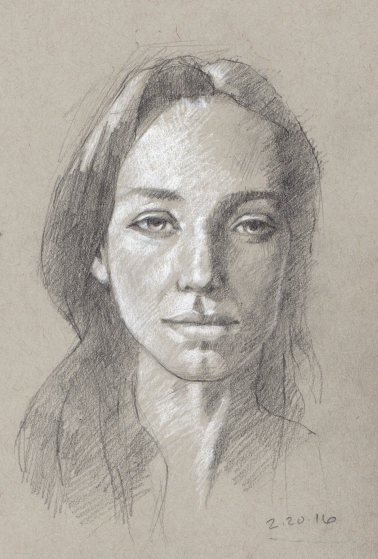 Young Woman, 5 x 8 inches, pencil
