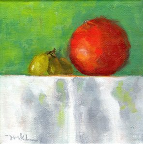 Three Grapes and a Tangelo 6 x 6 x 1 1/2 inches oil