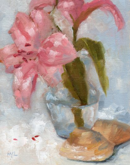 Azalea with Shells oil 10x8 022616