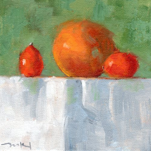 Two Mandaquats and a Tangerine oil 6x6 031916