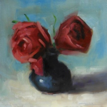 Roses, oil on panel, 12 x 12 inches