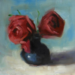 Roses, 12 x 12 inches oil on canvas panel