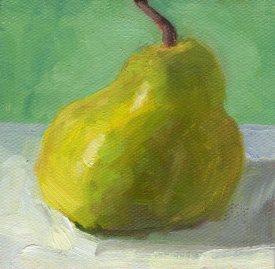 Lumpy Pear, 4 x 4, oil on paper