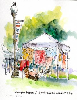 Colorful Fabrics at the Davis Farmers Market - https://marleneleeart.com/2016/07/10/lets-draw-davis-sketchcrawl/