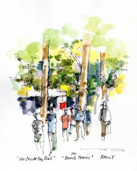 """No Crude by Rail"" Rally at the Davis Farmers Market - https://marleneleeart.com/2016/07/10/lets-draw-davis-sketchcrawl/"