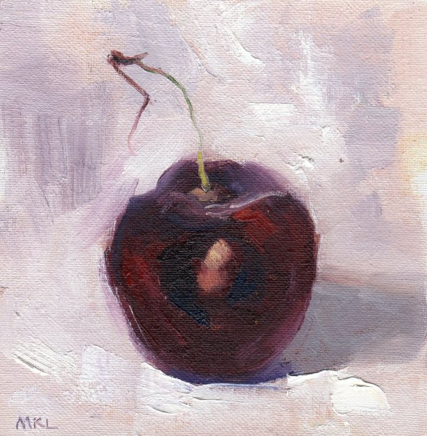 Single Cherry with Core, 6 x 6 inches oil on canvas panel