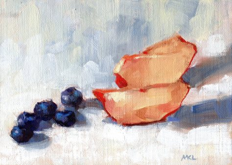 Nectarines Slices and Blueberries, 6 x 8 inches oil on canvas