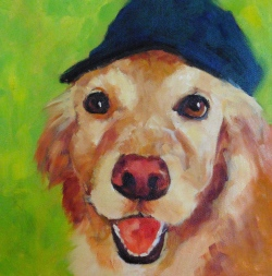 SOLD, Bailey, 2016 oil on gallery wrapped canvas, 10x 10x 1 3/8 inches by Marlene Lee