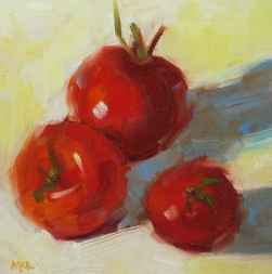 Hudson's Tomatoes 2016, oil on wood, 6x6x1/4 inches Available for purchase at https://www.etsy.com/listing/470201287/small-original-oil-painting-of-ripened?ref=shop_home_active_11