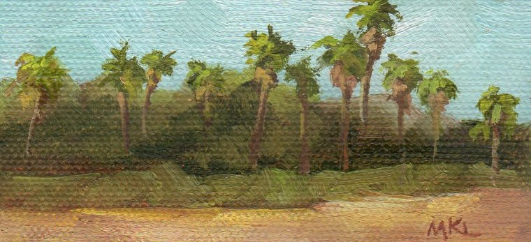 PalmTrees 2016, 2 x 4 x3/8, oil on stretched canvas SOLD