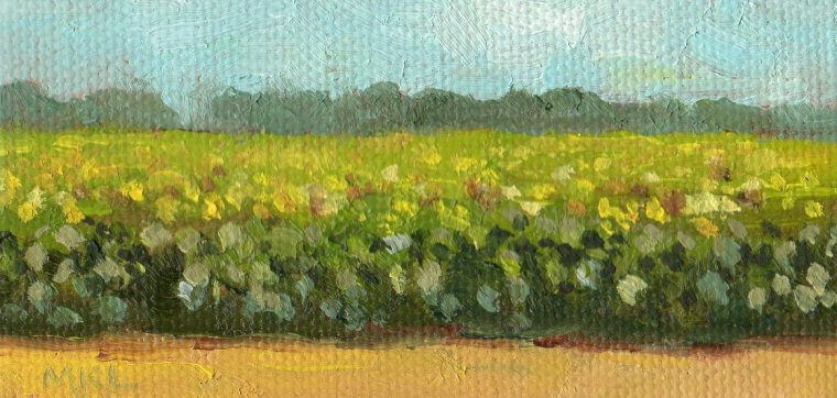 Sunflowers 2016, 2 x 4 x3/8, oil on stretched canvas
