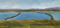 Yolo Causeway Rice Fields I 2016, 2 x 4 x3/8, oil on stretched canvas