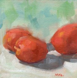 Three Apricots, 6 x 6 inches oil on canvas panel