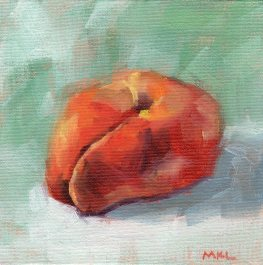 Doughnut Shaped Apricot, oil on panel, 6 x 6 inches