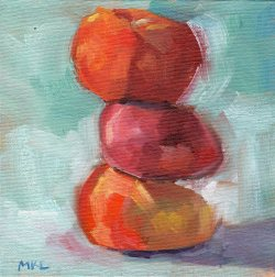 Stacked Up Apricots, oil on canvas panel, 6 x 6 inches