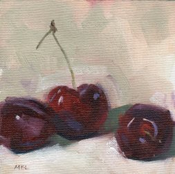Three Cherries, oil on canvas panel, 6 x 6 inches