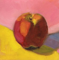 Apple, oil on panel, 6 x 6 inches