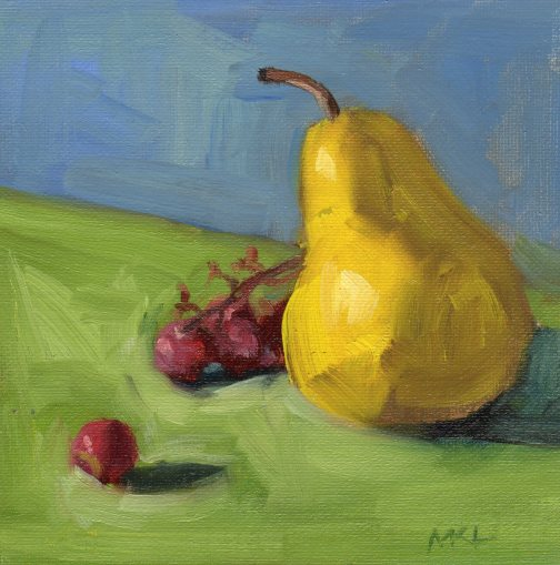 158 A Pear with Grapes oil 6 x 6.jpg