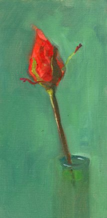 Red Bud, oil on canvas panel, 12 x 6 inches