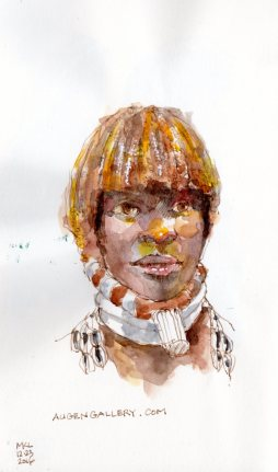 watercolor portrait sketch by Marlene Lee
