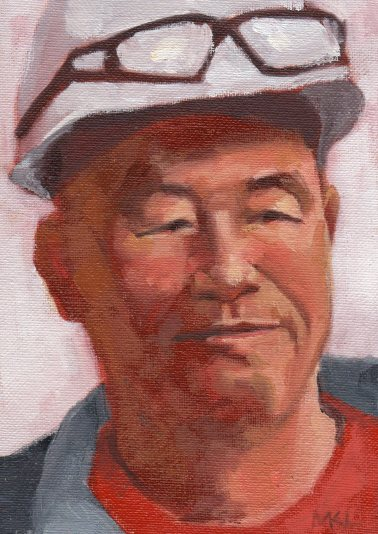 Plant Supervisor, oil, 7 x 5 inches SOLD