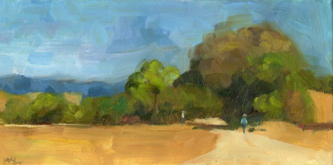 Plein Aire Painters, 6 x 12 x 3/4 inches, oil on canvas