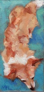 SOLD 2 x 3 1/2 x 1/4 inches oil on canvas