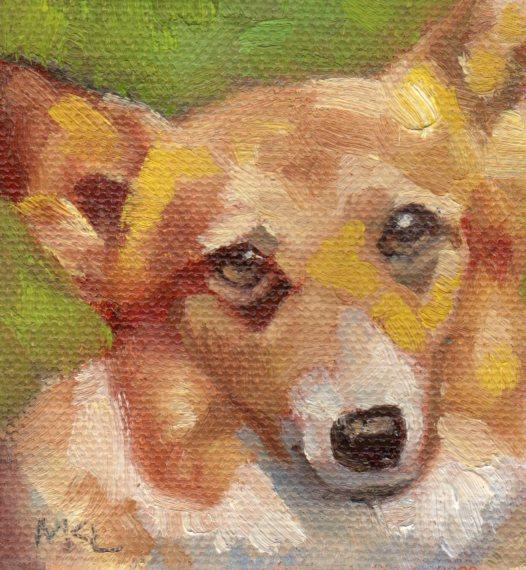 Corgie, 3 x 3 x 1/4 inches oil on canvas