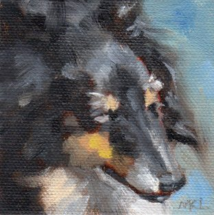 Black Collie, 3 x 3 x 1/4 inches oil on canvas