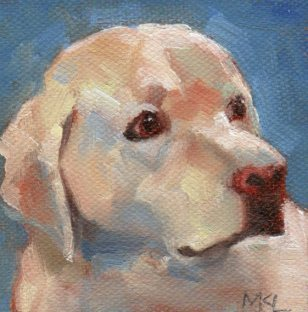 Helper, 3 x 3 x 1/4 inches oil on canvas