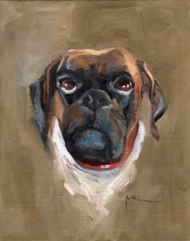 Commissioned, Dozer, oil, 10 x 8 inches by Marlene Lee
