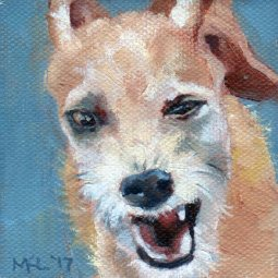Little Dog Complex, 3 x 3 x 1/4 inches oil on canvas