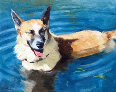 Commissioned, Dog Enjoying the Water, oil, 8 x 10 inches by Marlene Lee