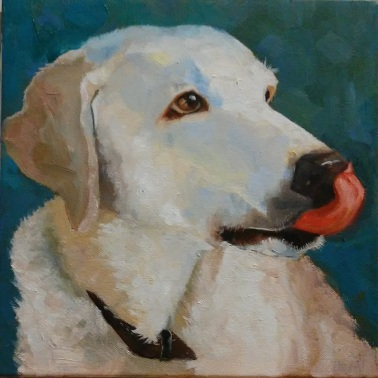 """Commissioned, """"Marla"""" 10 x 10 x 1 1/2 inches, oil by Marlene Lee"""
