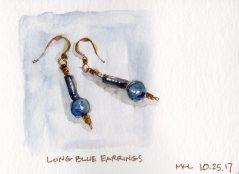 102517 Long Blue Earrings