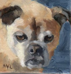 Not Looking 3 x 3 inches oil on canvas by Marlene Lee