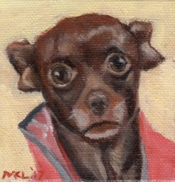 """Please"" 3 x 3 inches oil on canvas by Marlene Lee"